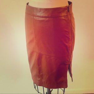Trina Turk Caramel Leather Pencil Skirt Size 4